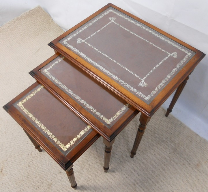 Nest Of Three Coffee Tables With Leather Glass Tops Sold